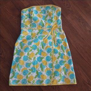 Lilly Pulitzer lemons strapless dress